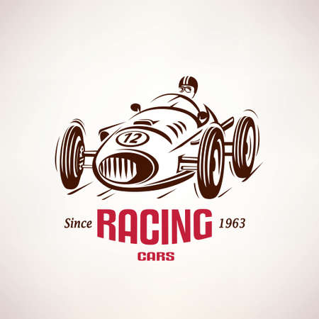 motorbike race: retro race car, vintage vector symbol, emblem, label template