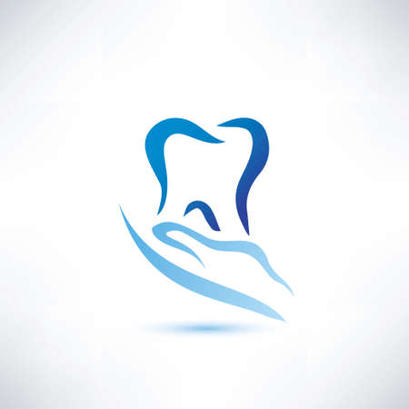 care symbol: hand holding a tooth icon, dental and health care vector symbol