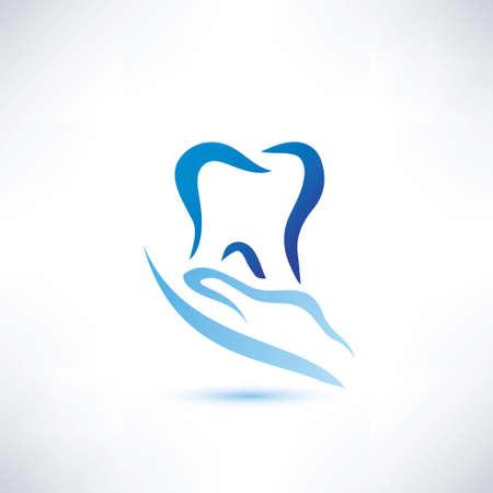 segurar: mão segurando um ícone de dente, dental e cuidados de saúde símbolo vetor