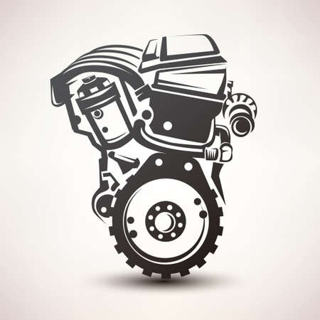 engine car symbol, stylized vector silhouette icon