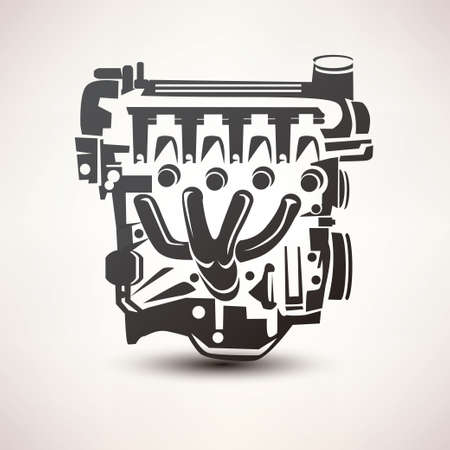 car engine: engine car symbol, stylized vector silhouette icon