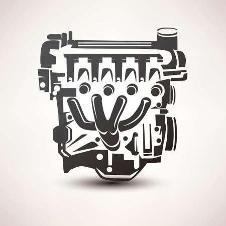motor coche: símbolo del coche motor, silueta estilizada icono vectorial