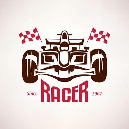 formula racing car emblem, race bolide symbol Illustration