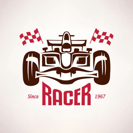 formula racing car emblem, race bolide symbol Illustration