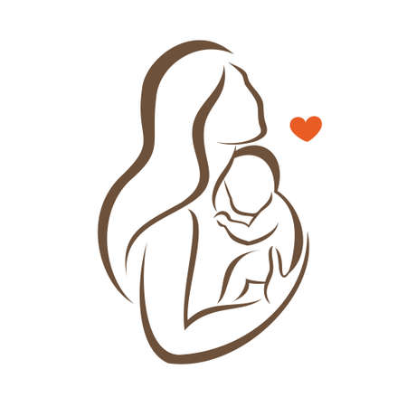 mother and baby stylized vector silhouette, outlined sketch of mom and child Illustration