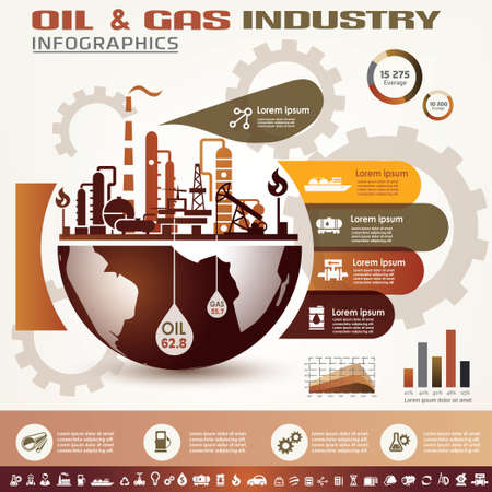 oil and gas industry infographics, extraction, processing and trasportation Ilustracja