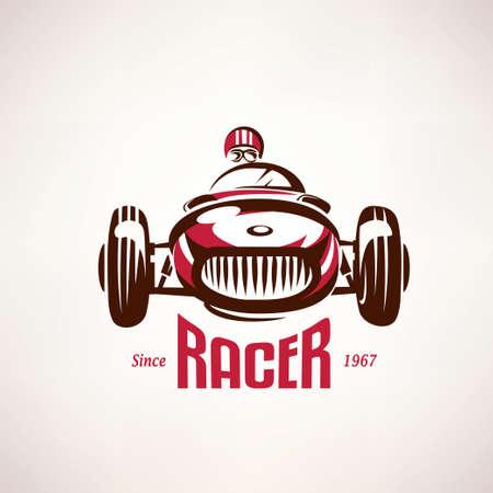 bandera carreras: Coche retro de la raza, el símbolo vector vendimia, emblema, plantilla de la etiqueta Vectores