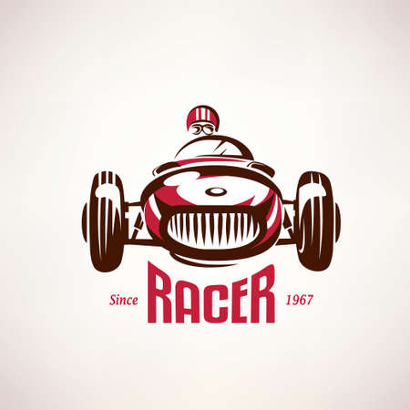 retro raceauto, vintage vector symbool, embleem, labelsjabloon