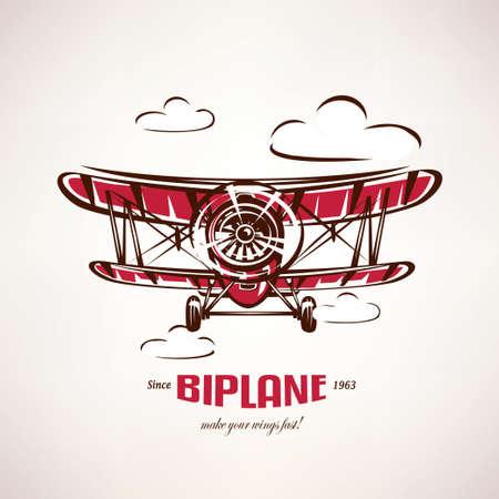 retro biplane, vintage airplane vector symbol, emblem, label template