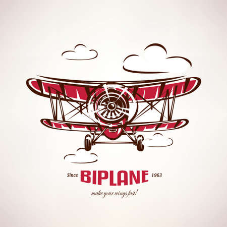 retro biplane, vintage airplane vector symbol, emblem, label template