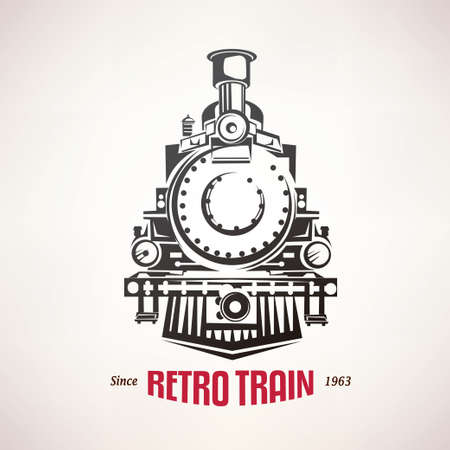 retro train, vintage  vector symbol, emblem, label template 向量圖像