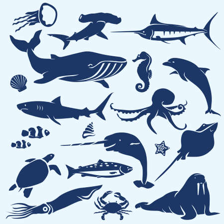 tortuga caricatura: vida marina, mar y al océano animales y peces siluetas colección Vectores