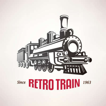 retro train, vintage  vector symbol, emblem, label template Vectores