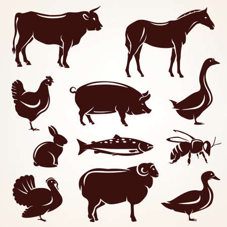 farm animals silhouette collection. Stock Photo