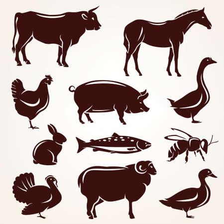 állatok: haszonállatok sziluett gyűjtemény Illusztráció