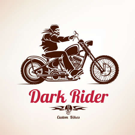 biker, motorcycle grunge vector silhouette, retro emblem and label Çizim