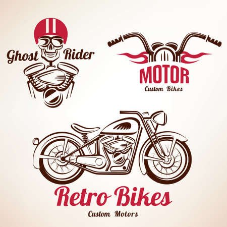 motos emblèmes et étiquettes fixées, rétro moto