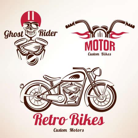 voiture de pompiers: motos emblèmes et étiquettes fixées, rétro moto