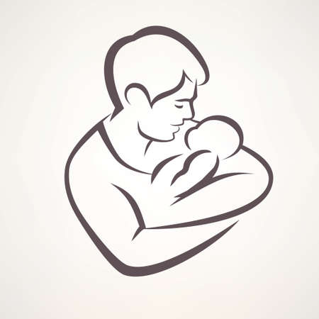 father and son: father and baby isolated vector symbol Illustration
