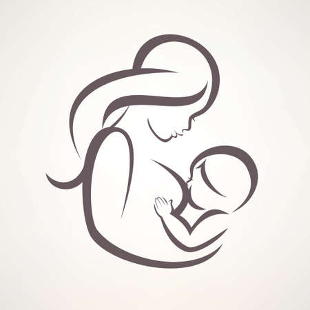 mother breastfeeding her baby symbol Çizim
