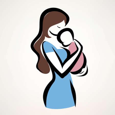 madre y bebe: madre y su silueta del bebé, aislado vector símbolo de la madre y del niño Vectores