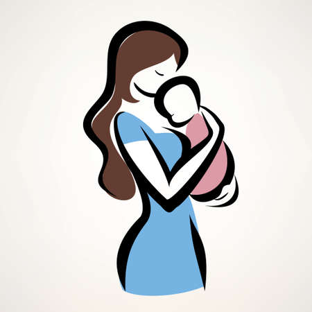 born saint: mother and her baby silhouette, isolated vector symbol of mom and child