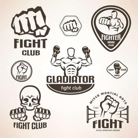 puños cerrados: Conjunto de emblemas del club de lucha, MMA, etiquetas de boxeo y bages