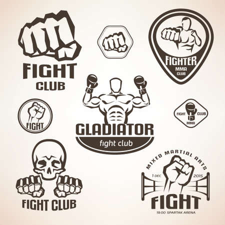Set of fighting club emblems, MMA, boxing labels and bages Çizim