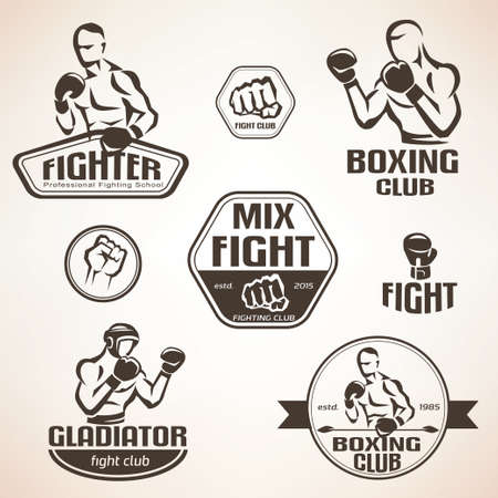 Set of fighting club emblems, MMA, boxing labels and bages Vectores