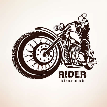 motor: biker, motorcycle grunge vector silhouette, retro emblem and label Illustration