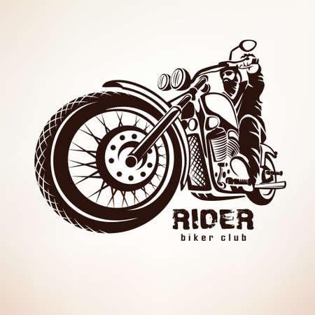 jinete: motorista, motocicleta grunge vector silueta, emblema retro y la etiqueta Vectores