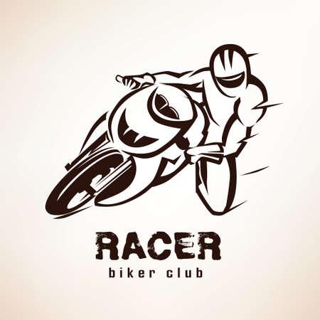 corredor, símbolo de moto deportiva, emblema de la motocicleta Ilustración de vector