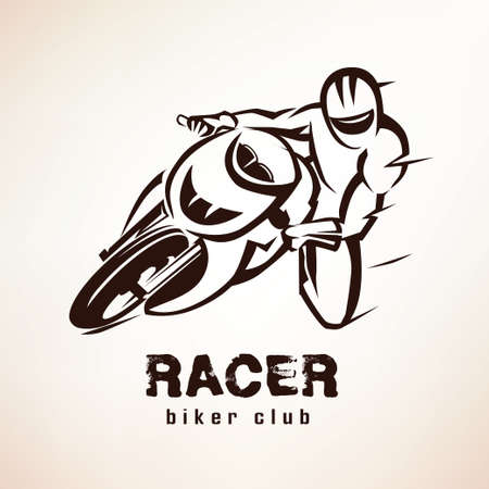 Corredor, símbolo de moto deportiva, emblema de la motocicleta Foto de archivo - 50926422