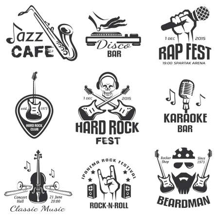 different music styles retro emblems and bages, rock, jazz, rap and disco labels set
