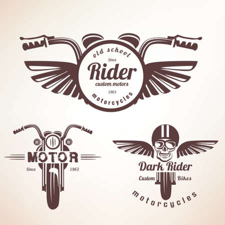 motorcycle repair shop: Set of vintage motorcycle labels, badges and design elements