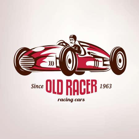 retro race car, vintage vector symbol, emblem, label template