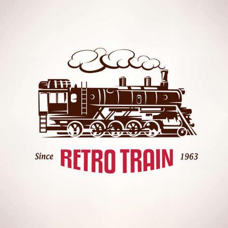 Tren retro, símbolo vector vendimia, emblema, plantilla de etiqueta