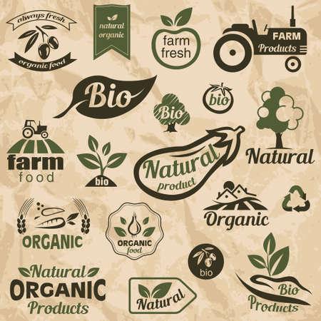 natural food: Bio, Organic, Natural Food Labels and Emblems collection of design elements Illustration