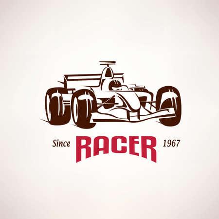 bolide: formula racing car emblem, race bolide symbol Illustration