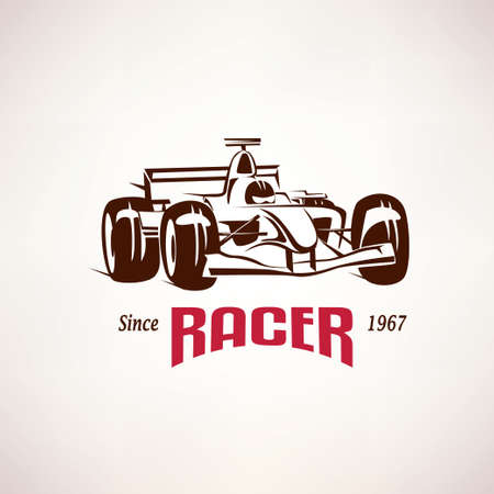 formula car: formula racing car emblem, race bolide symbol Illustration
