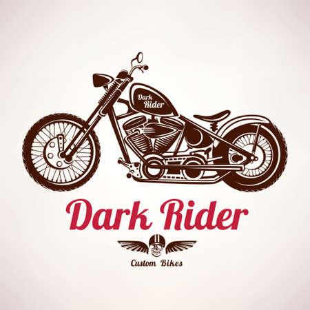 Moto vecteur grunge silhouette, rétro emblème et étiquette Banque d'images - 50926693