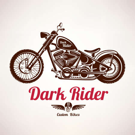 motorcycle grunge vector silhouette, retro emblem and label Çizim