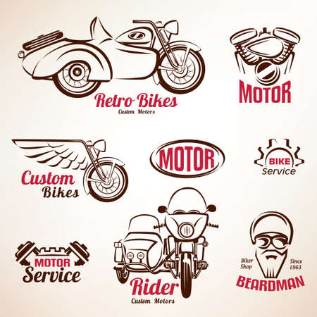 motorbike rider: motorbikes emblems and labels set, retro motorcycle