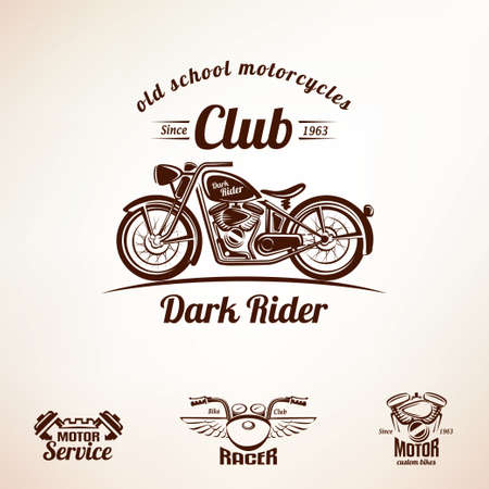 motor cycle: motorbikes emblems and labels set, retro motorcycle