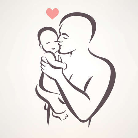 father and baby isolated vector symbol Çizim