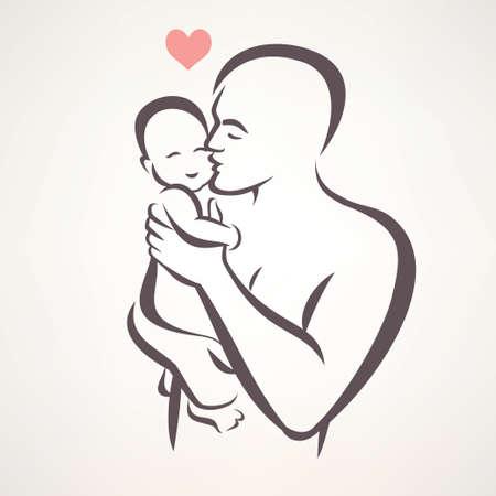 segurar: pai e bebê isolado símbolo vetor