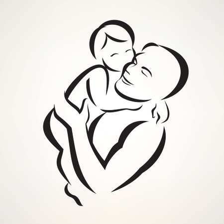father and baby isolated vector symbol Illustration