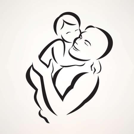 vader en baby geïsoleerd vectorsymbool Stock Illustratie