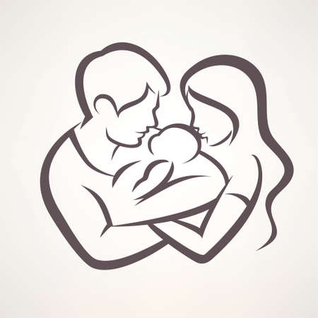 happy family stylized vector symbol, young parents and baby Ilustrace
