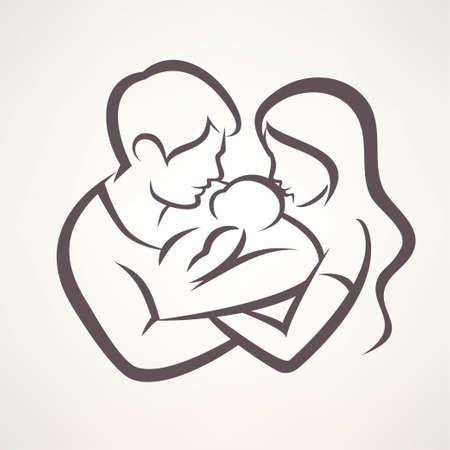 szczęśliwa rodzina stylizowane symbol, młodzi rodzice i dziecko